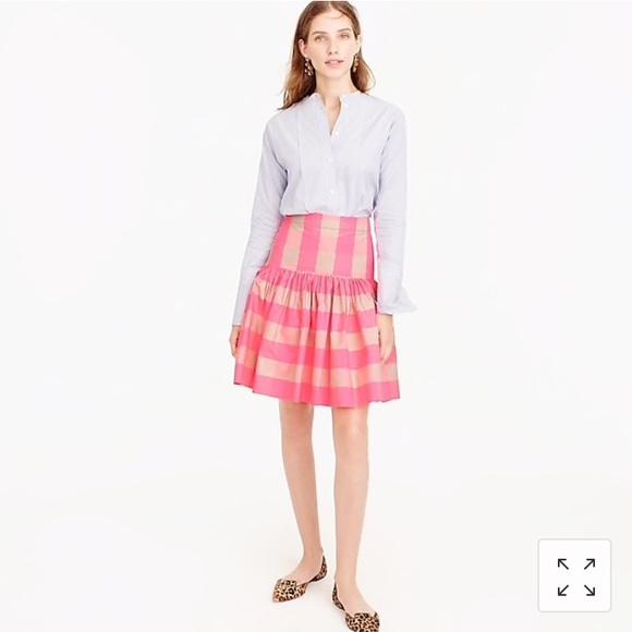 J. Crew Dresses & Skirts - NWT J. Crew Taffeta Skirt Neon Pink Buffalo Check